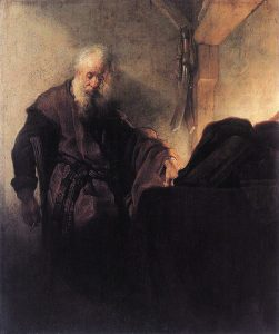 Saint Paul at his Writing Desk - Rembrandt